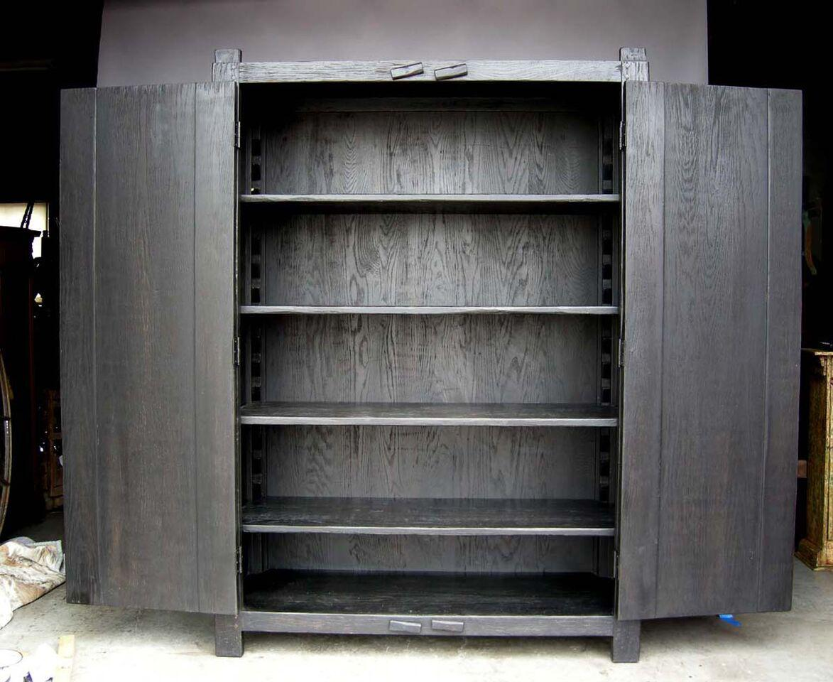 Custom Large Primitive Modern Armoire/Cabinet/Wardrobe In Ebony Finish    Image 3 Of