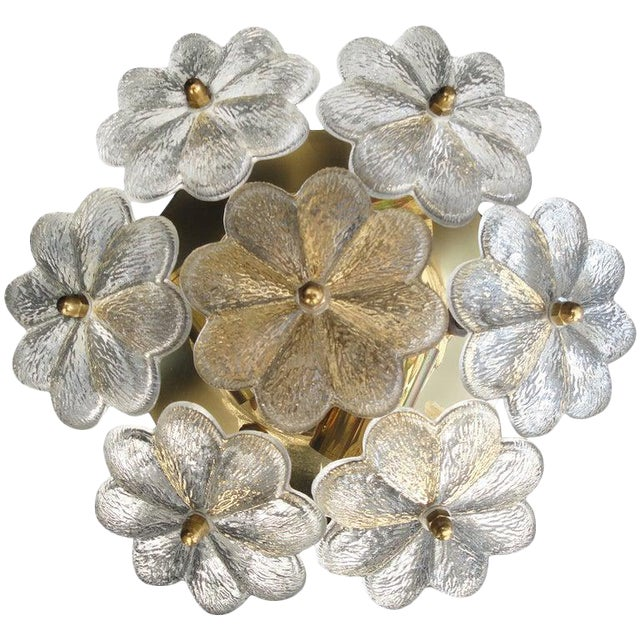 1960s Small Ernst Palme Floral Glass Flush Mount Sconce For Sale