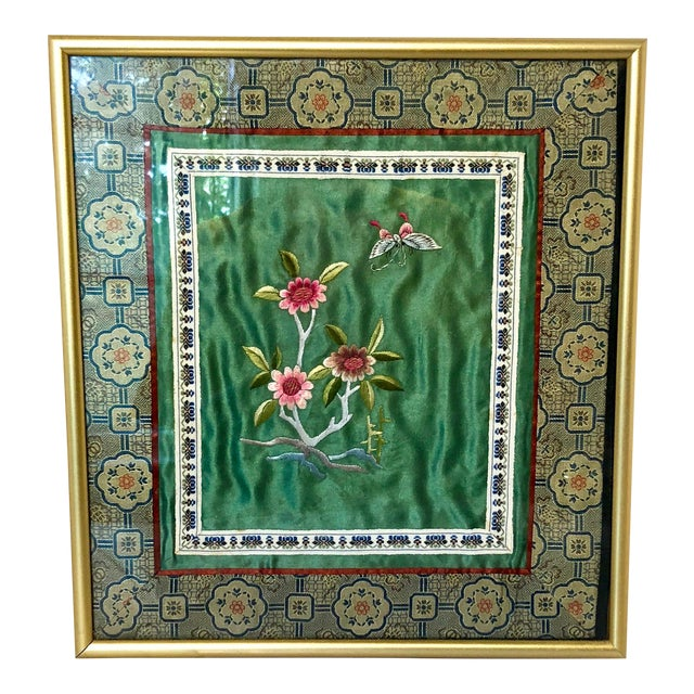 Vintage Chinese Framed Silk Embroidery For Sale
