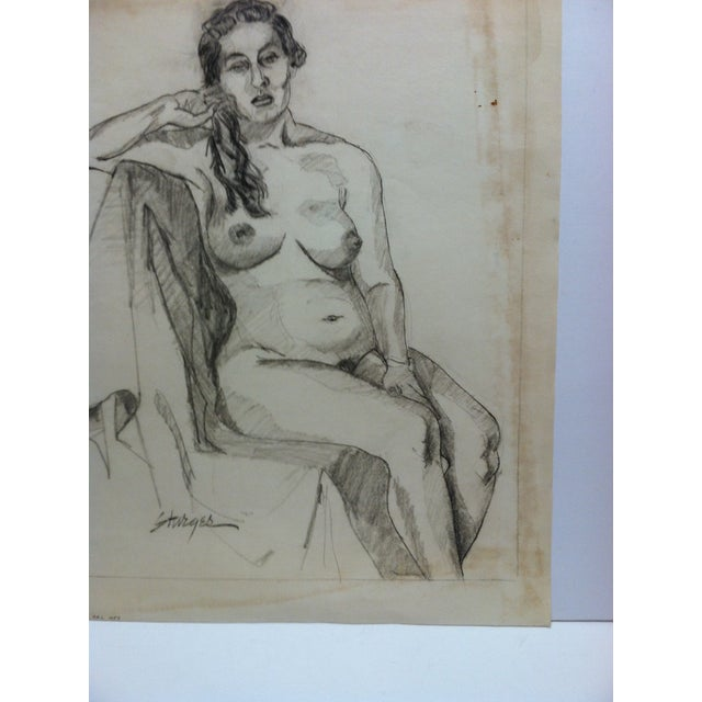 """Figurative 1953 Vintage """"Playing With Hair - Nude"""" Tom Sturges Jr. Original Drawing For Sale - Image 3 of 5"""