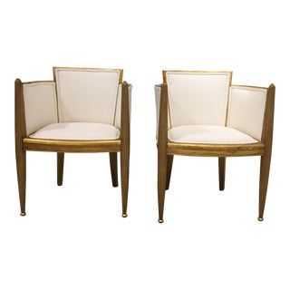 pair of art deco gilded chairs by paul follot For Sale