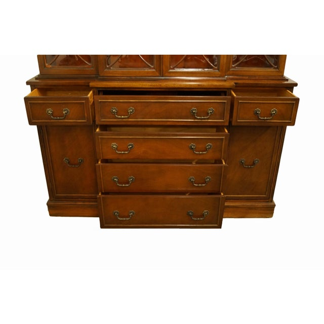 1960s Mahogany Traditional Style Secretary Credenza With Display China Cabinet Hutch For Sale In Kansas City - Image 6 of 13
