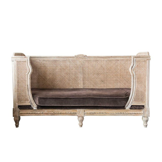 2010s French Style Caned Day Bed With Velvet Cushion For Sale - Image 5 of 5