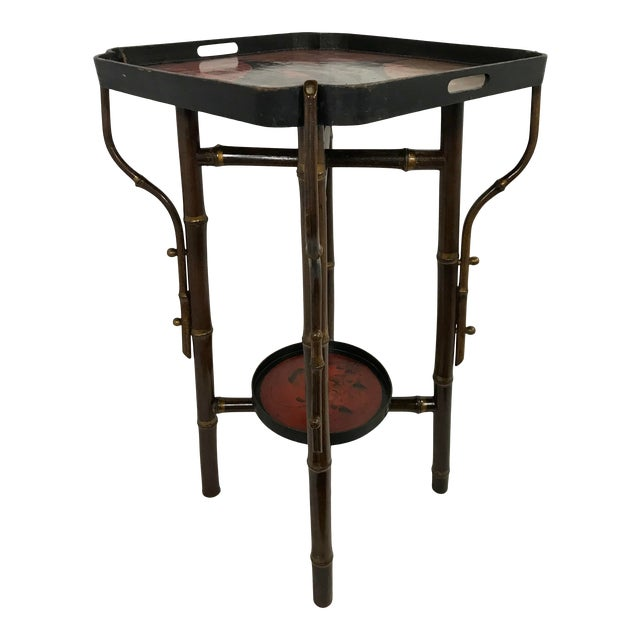 Napoleon III Faux Bamboo and Laquer Side Table For Sale