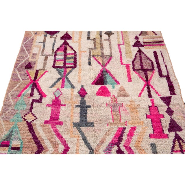 Vintage Azilal Moroccan Wool Rug For Sale - Image 10 of 12
