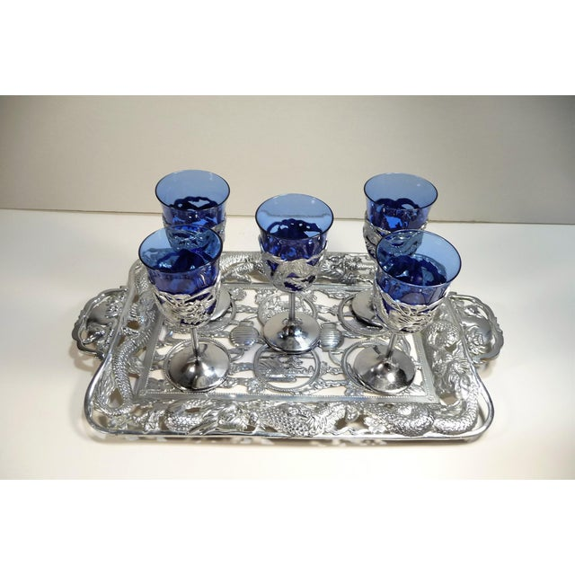 Vintage Asian Dragon Theme Chrome Tray With Matching Cobalt Cordial Glasses - Set of 7 For Sale - Image 9 of 11