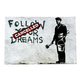 Contemporary Unframed Banksy Offset Lithograph Follow Your Dreams Graffiti Art For Sale