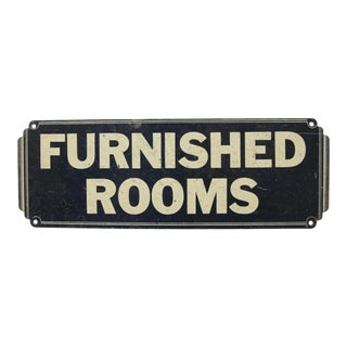 Circa 1940s Metal Furnished Rooms Sign For Sale