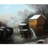 Image of 1855-1860 Early American Power Mill Pastel Painting For Sale