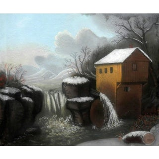 1855-1860 Early American Power Mill Pastel Painting For Sale