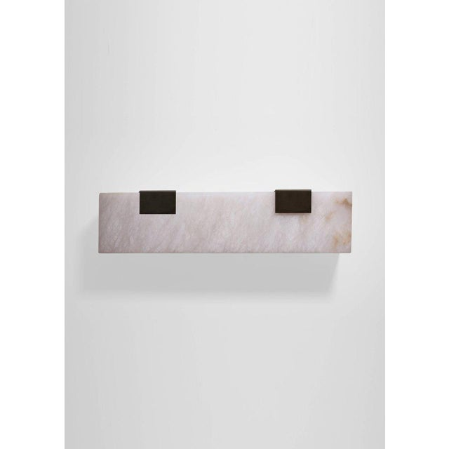 Contemporary Modern Contemporary 003-2c Sconce in Blackened Brass and Alabaster by Orphan Work For Sale - Image 3 of 7