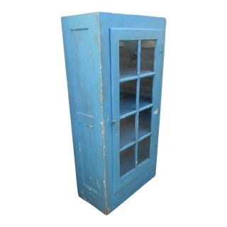 Turquoise Country Cottage Farmhouse Cabinet For Sale