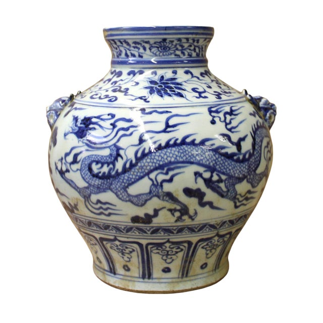 Chinese Blue White Porcelain Dragon Scenery Small Foo Dog Accent Vase Jar For Sale