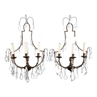 French Delicate 3 Light Metal and Crystal Sconces - Pair For Sale