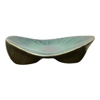 Mid Century Modern Style Turquoise Glazed Footed Bowl For Sale