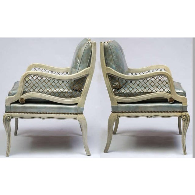 Pair of 1940s Carved and Lacquered Lounge Chairs with Blue Leather Upholstery - Image 3 of 7