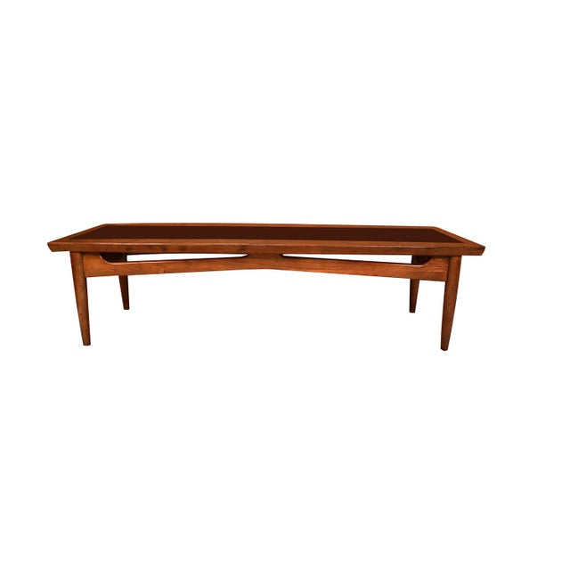 Mid Century Modern Surfboard Coffee Table American of Martinsville Dania Collection Walnut Black Laminate For Sale - Image 9 of 11