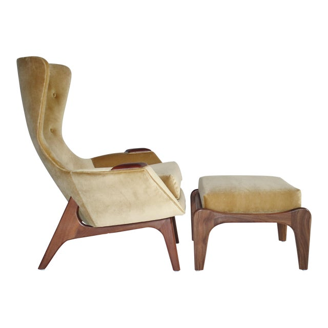 Adrian Pearsall Wing Chair for Craft Associates Model 2231-C and Ottoman For Sale