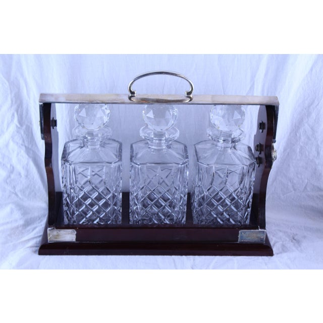 Mid 20th Century Art Deco Tantalus Decanter Set - 4 Pc. For Sale - Image 5 of 6