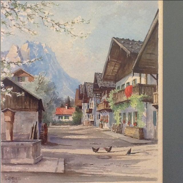 1960s German Village Original Watercolor - Image 4 of 11