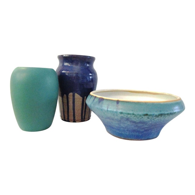 1990s Aqua Seas Turquoise Pottery Collection - Set of 3 For Sale