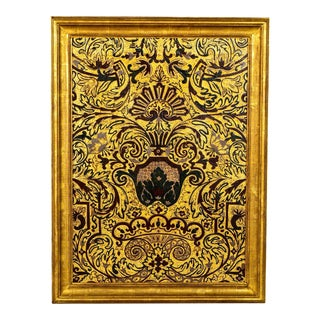 Late 19th Century Italian Framed Painted Leather Panel For Sale