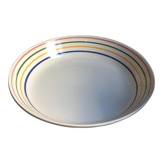 Italian Pottery White Ceramic Serving Bowl W/ Hand-Painted Color Stripes - Stovigliere For Sale