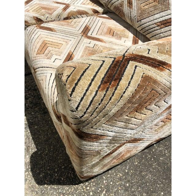 Textile 1970s Tuxedo Sofa With Jack Lenor Larsen Style Fabric For Sale - Image 7 of 11