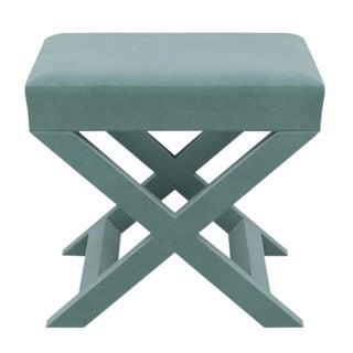 X Bench in Aqua Velvet For Sale