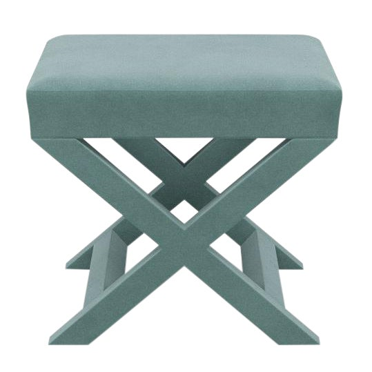 X Bench in Aqua Velvet For Sale