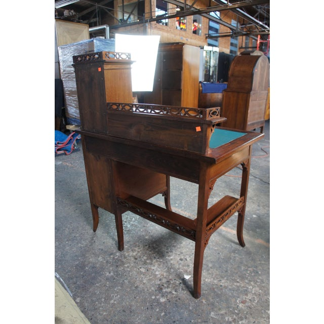 Antique Victorian German Desk Green Vinyl Top Gothic Pierced Fret Board Writing Desk For Sale - Image 6 of 13