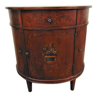 Ethan Allen Fruitwood Painted Decorated Demilune Commode For Sale