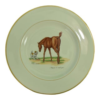 """1950s Vintage Frank Vosmansky for Abercrombie & Fitch """"Pleased to Meet You?"""" Dinner Plate For Sale"""
