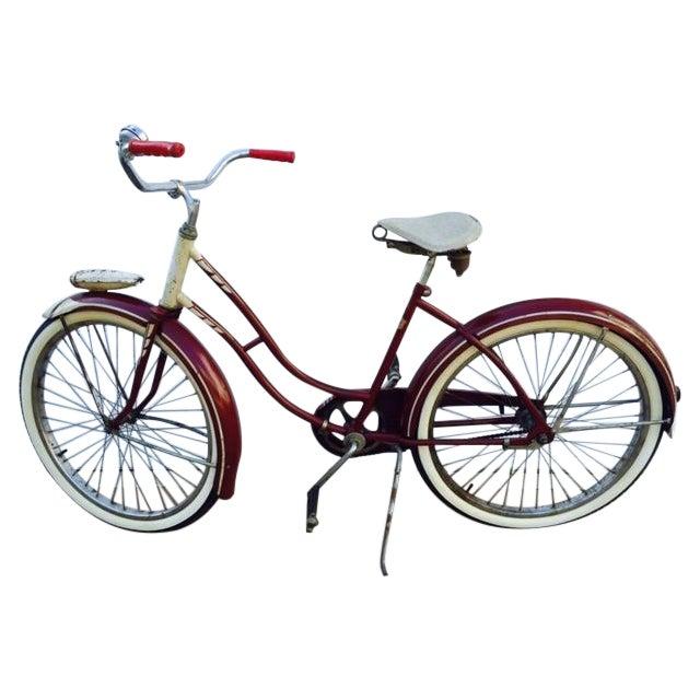 Burgundy, White 1950's Columbia Built Cruiser Bike - Image 1 of 10