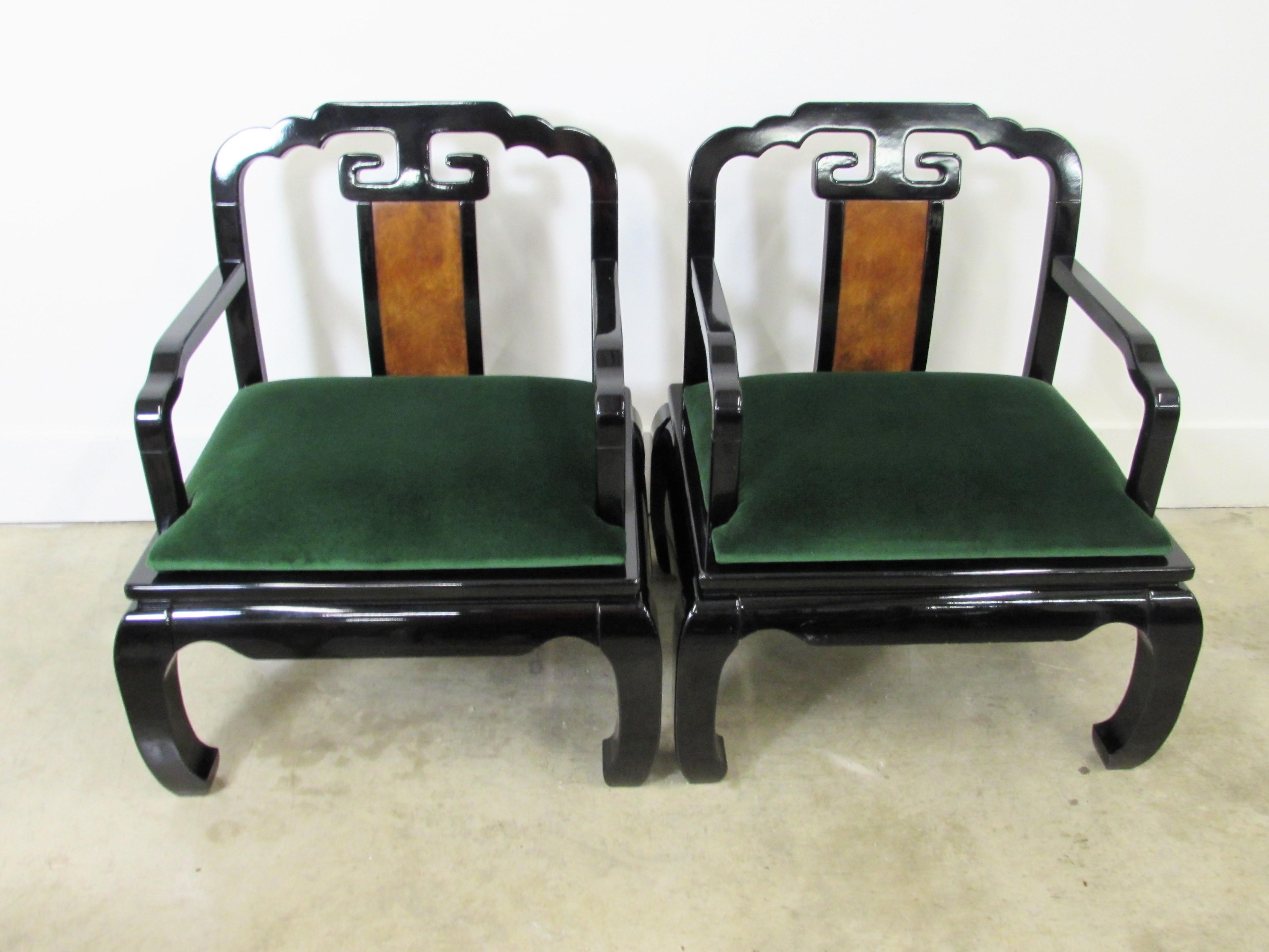 Genial Pair Of Black Lacquered Asian Inspired Arm Chairs With Ming Style Legs And  Back Splat