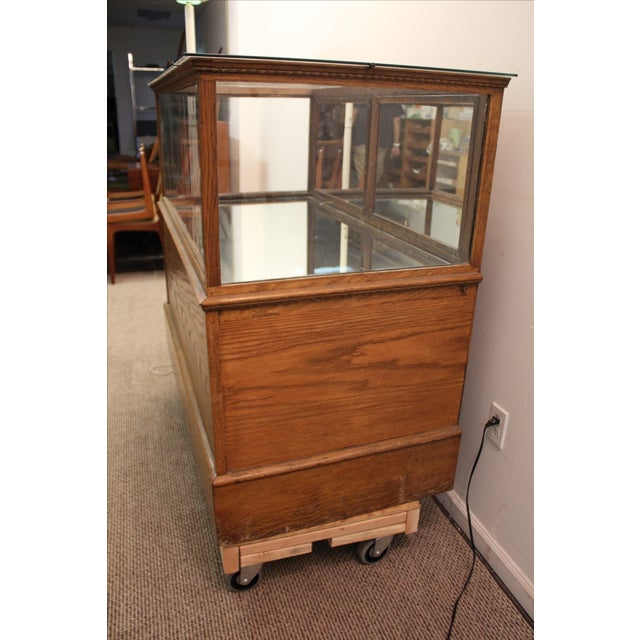 Antique Oak & Glass Mirrored Display Case - Image 4 of 11