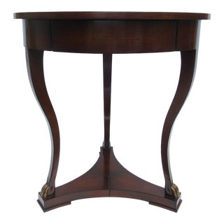 "C.1998 Nancy Corzine -Round English Walnut ""DeSilva"" Side Table, With Gilt Paw Feet & Single Drawer For Sale"