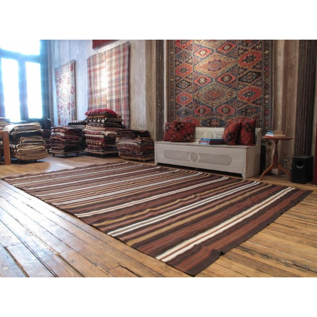 Traditional Large Banded Kilim For Sale - Image 3 of 6
