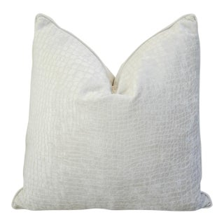 Modern Boho Chic White Crocodile Textured Velvet Pillow For Sale
