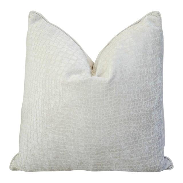 Modern Boho Chic White Crocodile Textured Velvet Pillow For Sale