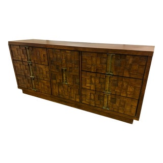 Mid Century Brutalist Paul Evans Style Patchwork Server Bar For Sale