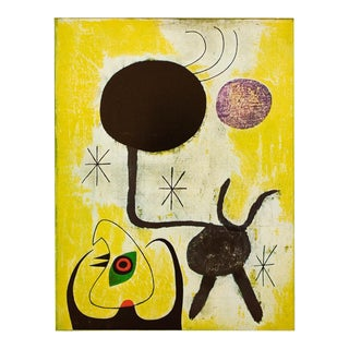 "1940s Juan Miro ""Woman and Bird in Front of the Sun"", Original Period Swiss Lithograph For Sale"