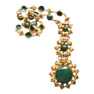 William De Lillo Green Cabochon Necklace For Sale