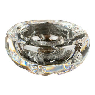 Baccarat Cut and Faceted Clear Round Crystal Ashtray For Sale