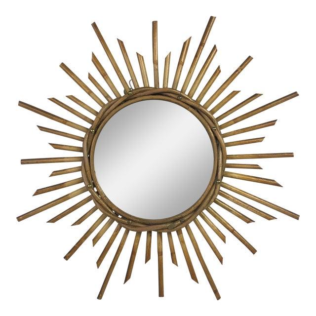 French Mid-century Rattan Sunburst Mirror - Image 1 of 3