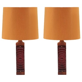Pair of Teak Glass and Brass Danish Table Lamps For Sale