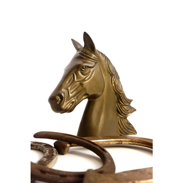 American Large Vintage Brass Horse Bust | Stallion Head Statue | Equestrian Décor | Western Chic Horse Sculpture | Equine Home Accent For Sale - Image 3 of 13