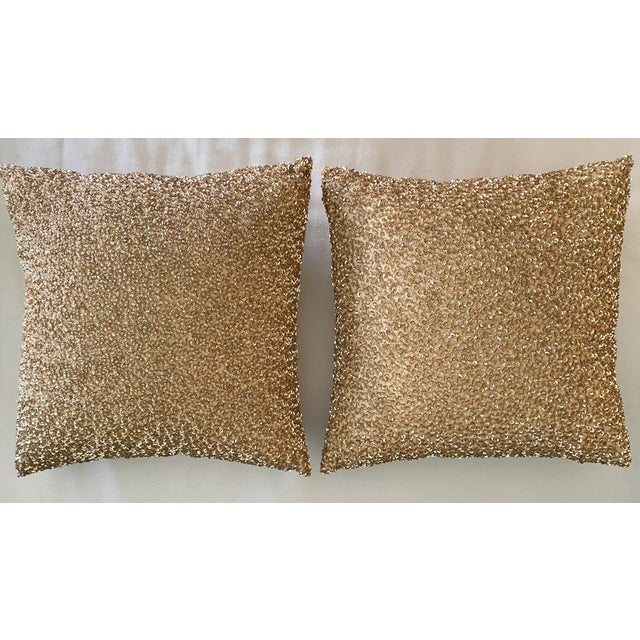 Gold Embroidered Gold Sequined Pillows - A Pair For Sale - Image 8 of 8