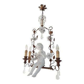 French Huge Porcelain Cherub Swinging Roses Chandelier, circa 1920 For Sale