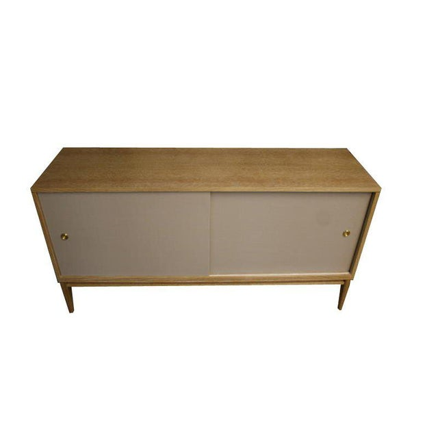 Brown Customizable Bishop Lacquered Linen Door Console For Sale - Image 8 of 10